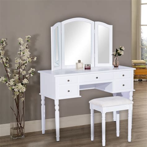 vanity table and stool homcom elegant dressing table vanity with mirror stool 5