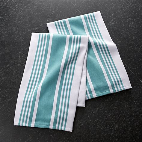 crate and barrel kitchen towels cuisine stripe aqua dish towels set of 2 crate and barrel