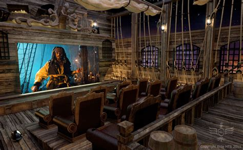 Awesome Pirate Theme Home Theater Has Pirate Tavern And