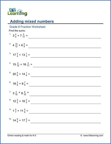 grade 6 addition and subtraction of fractions worksheets free printable k5 learning