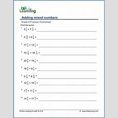 Grade 6 Addition And Subtraction Of Fractions Worksheets  Free & Printable  K5 Learning