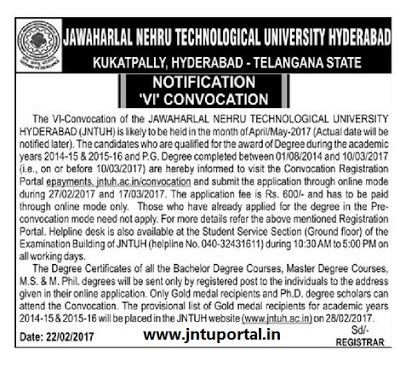 jntuh 6th convocation notification apply jntuh ac in for original degree od 2014 2015