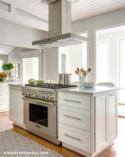 kitchen island with freestanding stove transitional