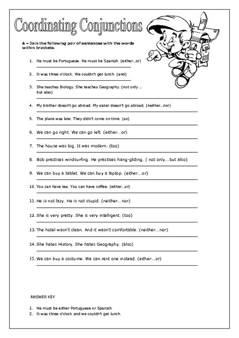englishlinx com conjunctions worksheets lakshitha