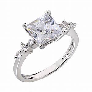 14k white gold plated women wedding band princess cut cz With cz wedding rings for women
