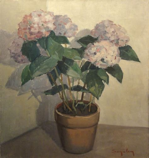 planter des hortensias en pot suzalem actif xxe si 232 cle pot d hortensias huile sur toile mis en vente lors de la