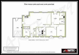 Plan Maison 4 Chambres Avec Suite Parentale : plan de maison plain pied avec suite parentale ~ Melissatoandfro.com Idées de Décoration
