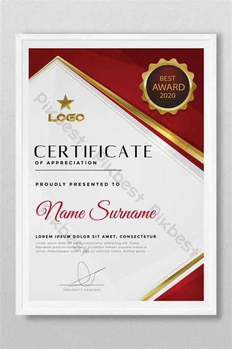 creative red  gold award certificate design ai
