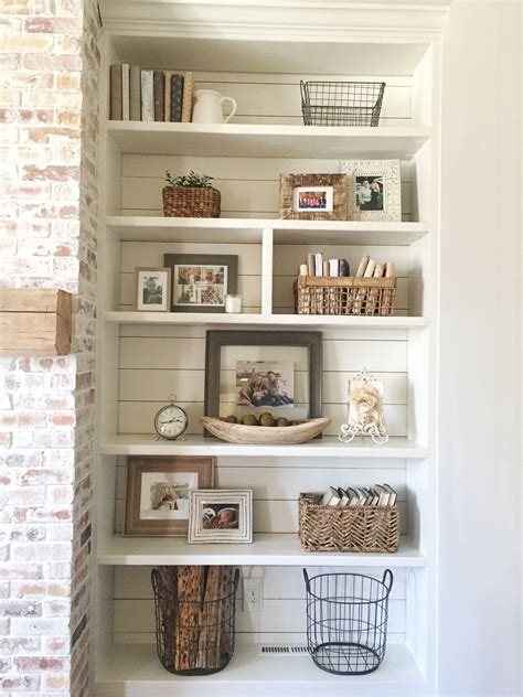 Living Room With Fireplace And Bookshelves by Built In Bookshelves Styling And Decor Shiplap Whitewash