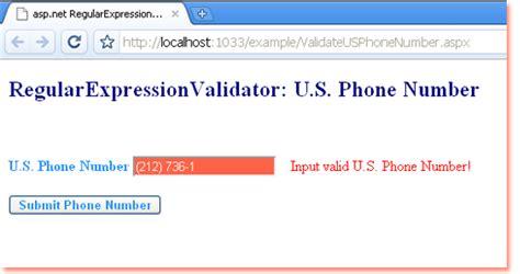 aspnet regularexpressionvalidator validate  phone