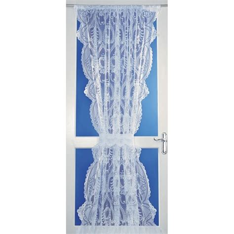 leona lace net curtain door panel in white 54 quot wide x 72