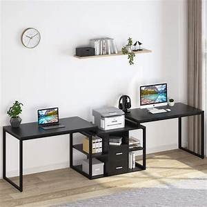 Tribesigns, 114, Inch, Two, Person, Desk, Double, Workstation, Office, Desk, With, Shelves, U0026, Drawers