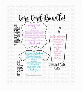 Care card instructions bundle apply vinyl decal print and for Dishwasher safe vinyl lettering