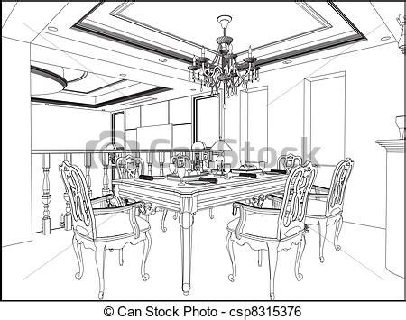 dining room clipart black and white dining room vector