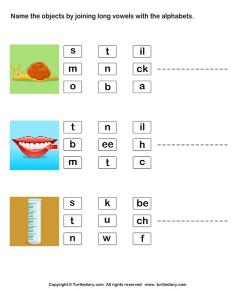 identify pictures  joining long vowels  alphabets