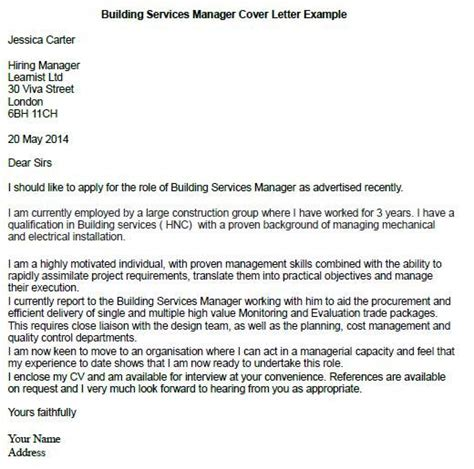 building services manager cover letter