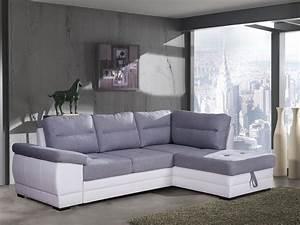 Canapé Blanc Tissu : canap d 39 angle convertible contemporain en tissu gris pu ~ Premium-room.com Idées de Décoration