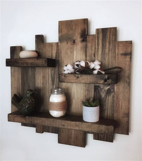 rustic wall shelf reclaimed wood wall shelf pallet shelf