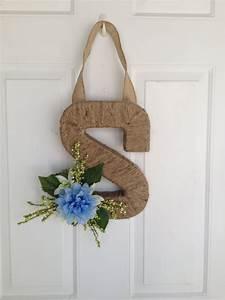 initial monogram letter wreath door hanger home decor With letter j home decor