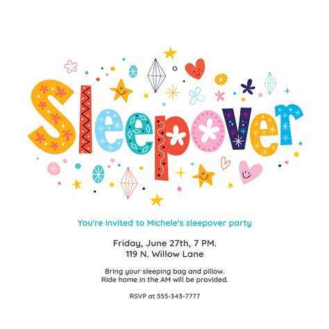 Sleepover Sleepover Party Invitation Template (Free in