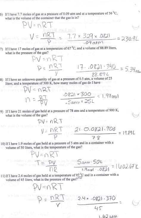 worksheets combined gas problems worksheet