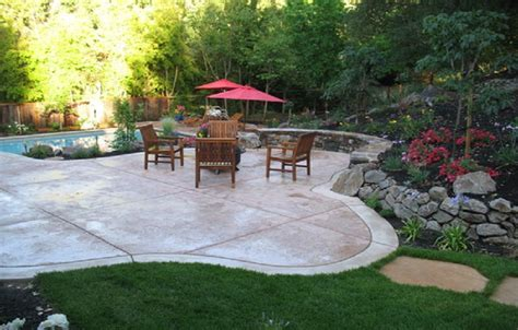 Backyard Stamped Concrete Patterns Design Ideas With