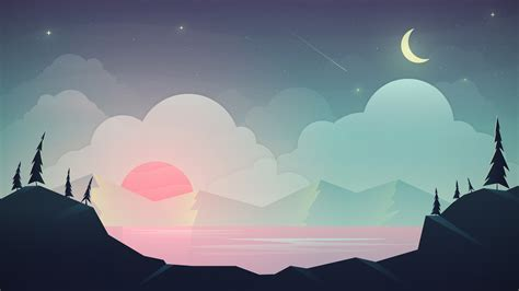 Animated Scenery Wallpapers - animated scenery clouds moon mountains hd wallpapers