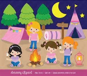 Girls Camping Tent Clip Art