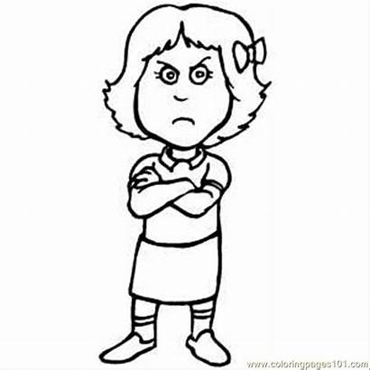 Coloring Pages Pouting Clipart Mad Emotions Printable