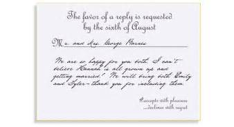 reply to wedding invitation rsvp etiquette traditional favor accepts regrets placement 1 filled out