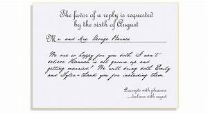 Rsvp etiquette traditional favor accepts regrets placement for How to send wedding invitations with rsvp