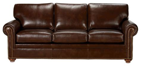 Ethan Allen Leather Sofa Reviews by Conor Leather Sofa Omni Brown Traditional Sofas By