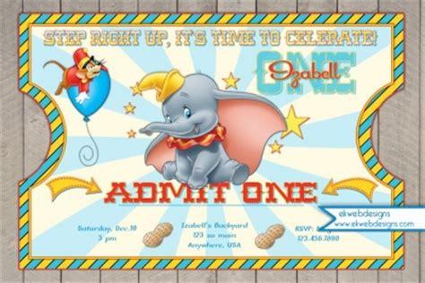 dumbo circus ticket style birthday invitations dumbo