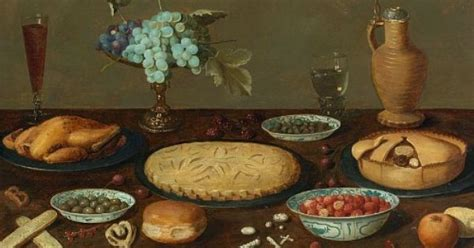 unknown flemish still with pies and roast chicken 17th century j 237 dlo a pit 237 food