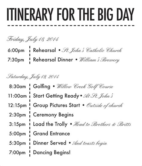 wedding day itinerary template 26 wedding itinerary templates free sle exle format free premium templates