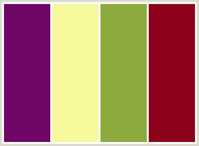 colors that go with magenta colorcombo65 with hex colors 6f0564 f6fa9c 8ca93e 8c001a