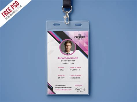 psd company photo identity card psd template  psd