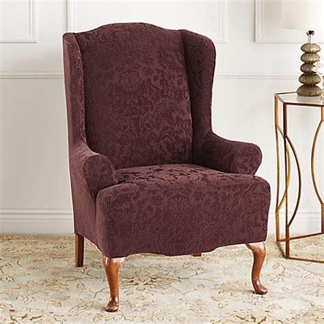 slipcover for wing chair sure fit stretch jacquard damask wing chair slipcover