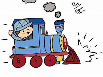 Train Steam Cartoon Conductor Clipart Clip Drawing