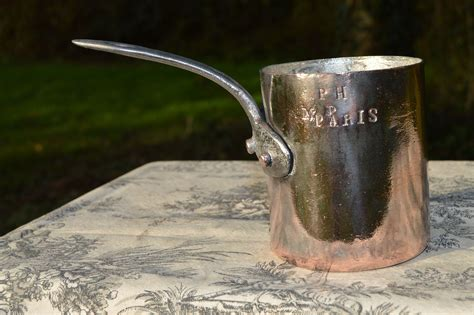 antique french copper pan  tin tall professional mm