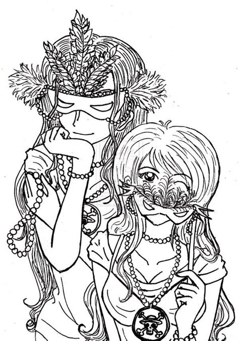 piece anime girls  mardi gras costume coloring page