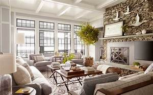 Rustic, Lake, House, Decorating, Ideas, With, Wooden, Wall, And