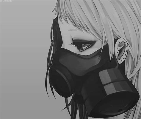 anime gasmask girl anime monochrome anime manga girl