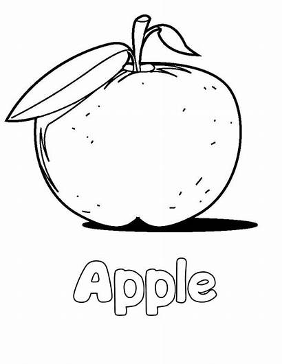 Apple Coloring Pages Printable Fruit Drawing Alphabet