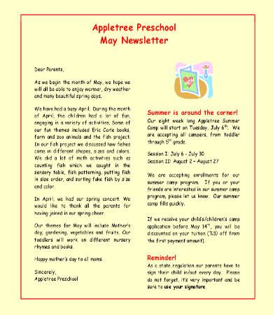 monthly newsletter template 9 free word pdf documents 797 | Preschool Monthly Newsletter Template