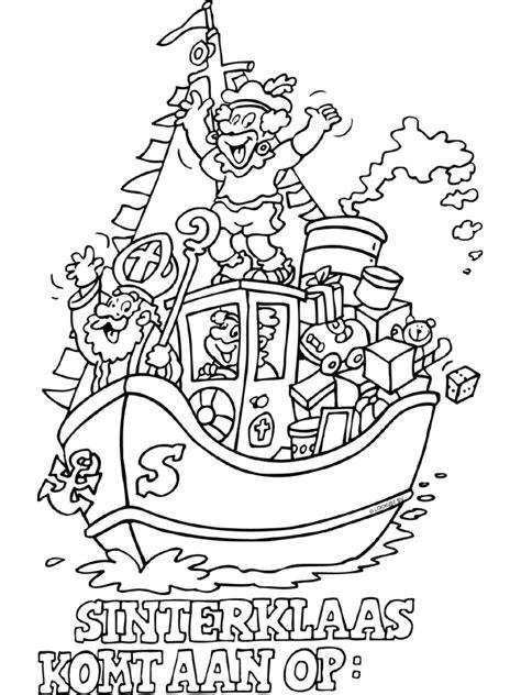 Kleurplaat Sinterklaas Komt Op Bezoke by Kleurplaat Sinterklaas Komt Aan Op Kleurplaten Nl