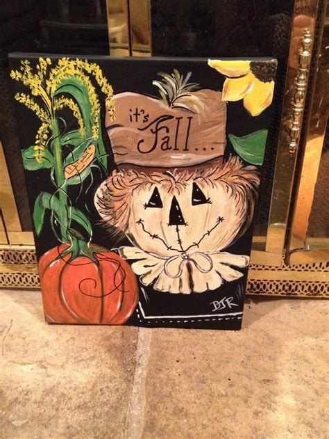 painted fall canvas  scarecrow  pumpkin fall