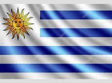 ondeando la bandera de uruguay, vector — Archivo Imágenes