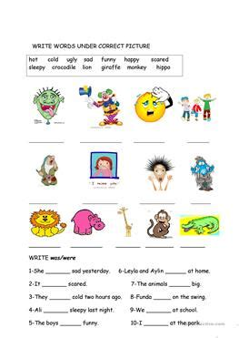 esl waswere worksheets