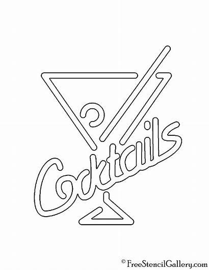 Stencil Sign Neon Cocktails Signs Freestencilgallery